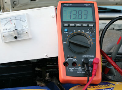 High-current ammeter in action: c. 34 A and 13.83 V.